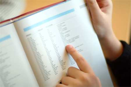 Vokabeln im Schulbuch nachschlagen...